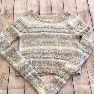 Long Sleeve Striped Sweater with Glitter Yarns